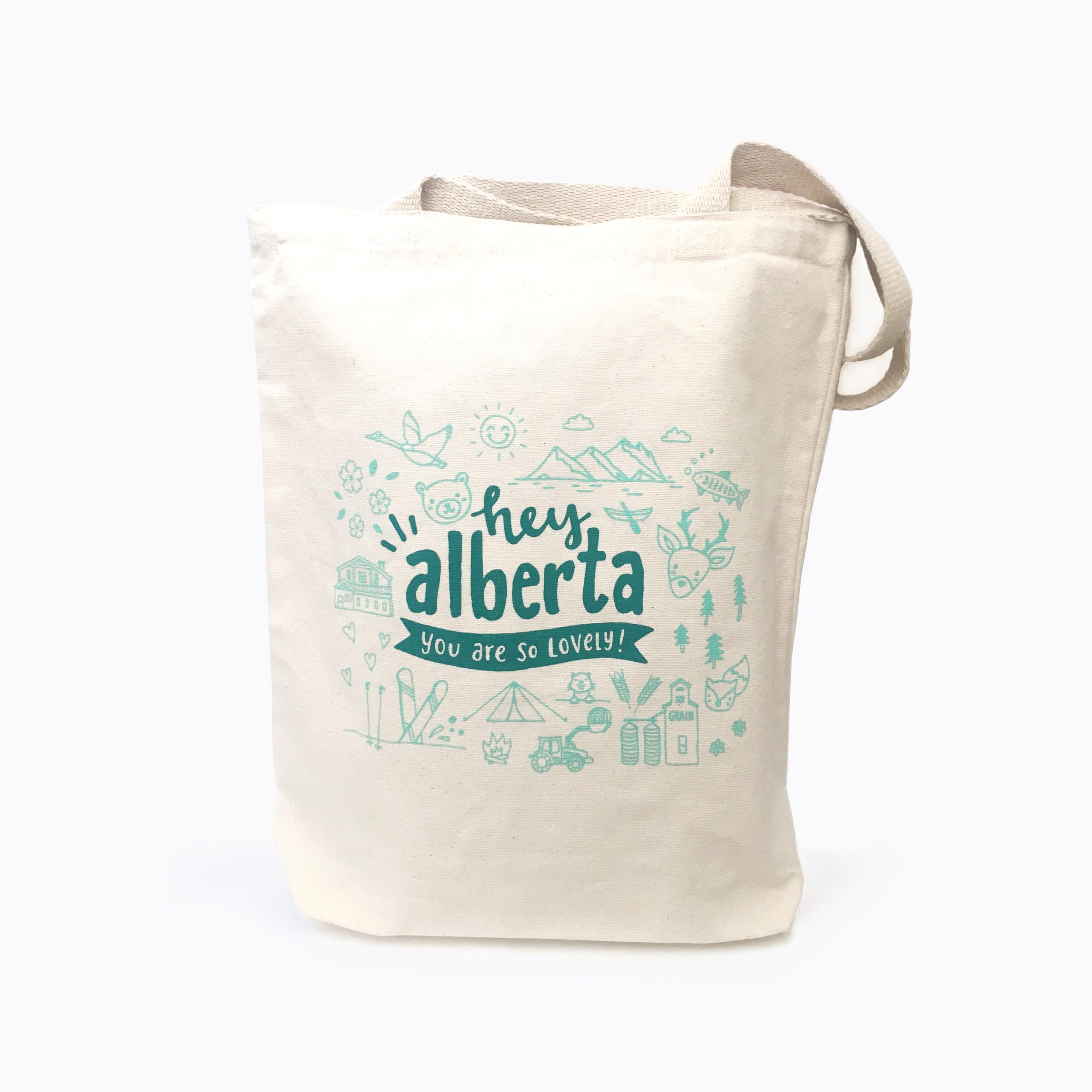 Screen Print Cotton Canvas Tote Hey Alberta Tote Bag Canada Alberta
